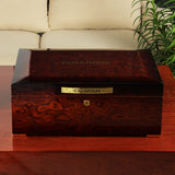 CIGARISM Piano Finish Bulbous Rosewood Grain Cedar Cigar Humidor 200 Count