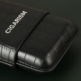 CIGARISM Croco Pattern Genuine Leather Embossed Cigar Travel Case 3 Count