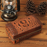 CIGARISM Brown Alligator Pattern Embossed Genuine Leather Cigar Travel Case Humidor (6 Count)