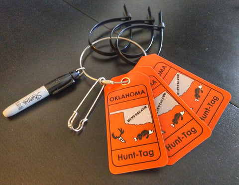 Hunting kit designed specifically with the information required for field tagging deer in Oklahoma