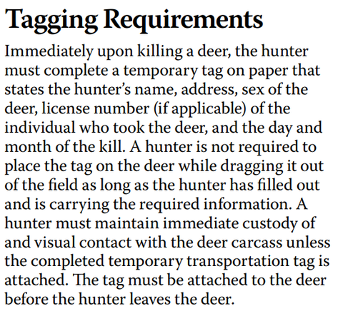 Deer tagging requirements for Indiana as stated by the IDNR