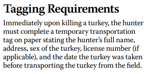 Turkey tagging requirements for the state of Indian as per hunting regulations from DNR