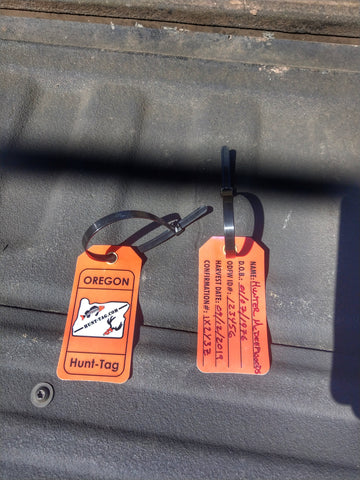 Durable, waterproof, weatherproof Oregon hunting tag. One tag filled out and laminated.