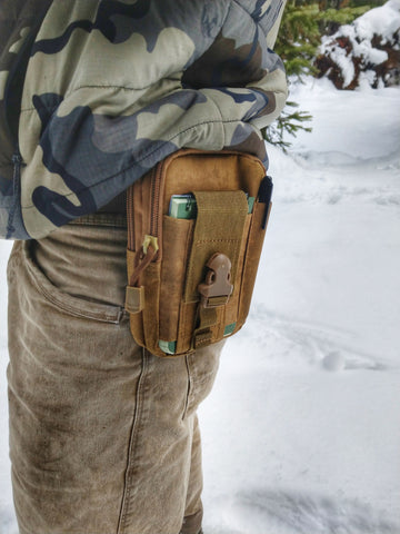 keep your phone safe and on you while hunting with a tech pouch for your hunting pack or belt