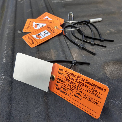 Indiana field tag for tagging deer and turkey while hunting in Indiana