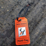 New Mexico deer hunting tag for attaching information to harvested big game and turkey