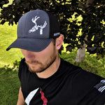 Hunting hat charcoal grey and black with Hunt Tag buck logo
