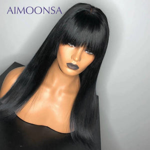Bang Wig Human Hair Straight Pre Plucked 360 Lace Frontal Wig 150 Density