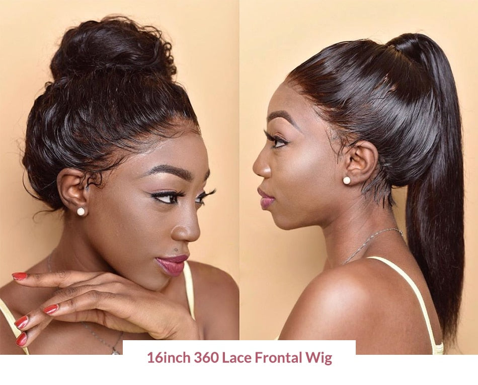 Straight Glueless Lace Front Human Hair Wig Pre Plucked Brazilian