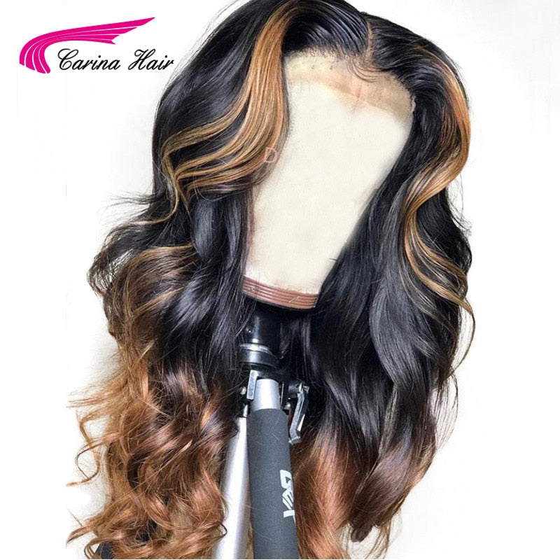 Loose Deep Lace Front Human Hair Wig Honey Blonde Ombre GLUELESS !!!!!