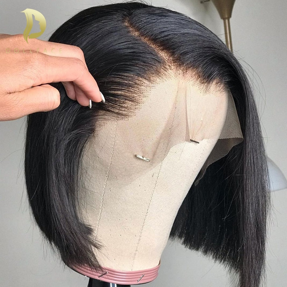 Short Lace Front Human Hair  Bob Brazilian Straight 13x4 Lace Wig 130 180 250 Density