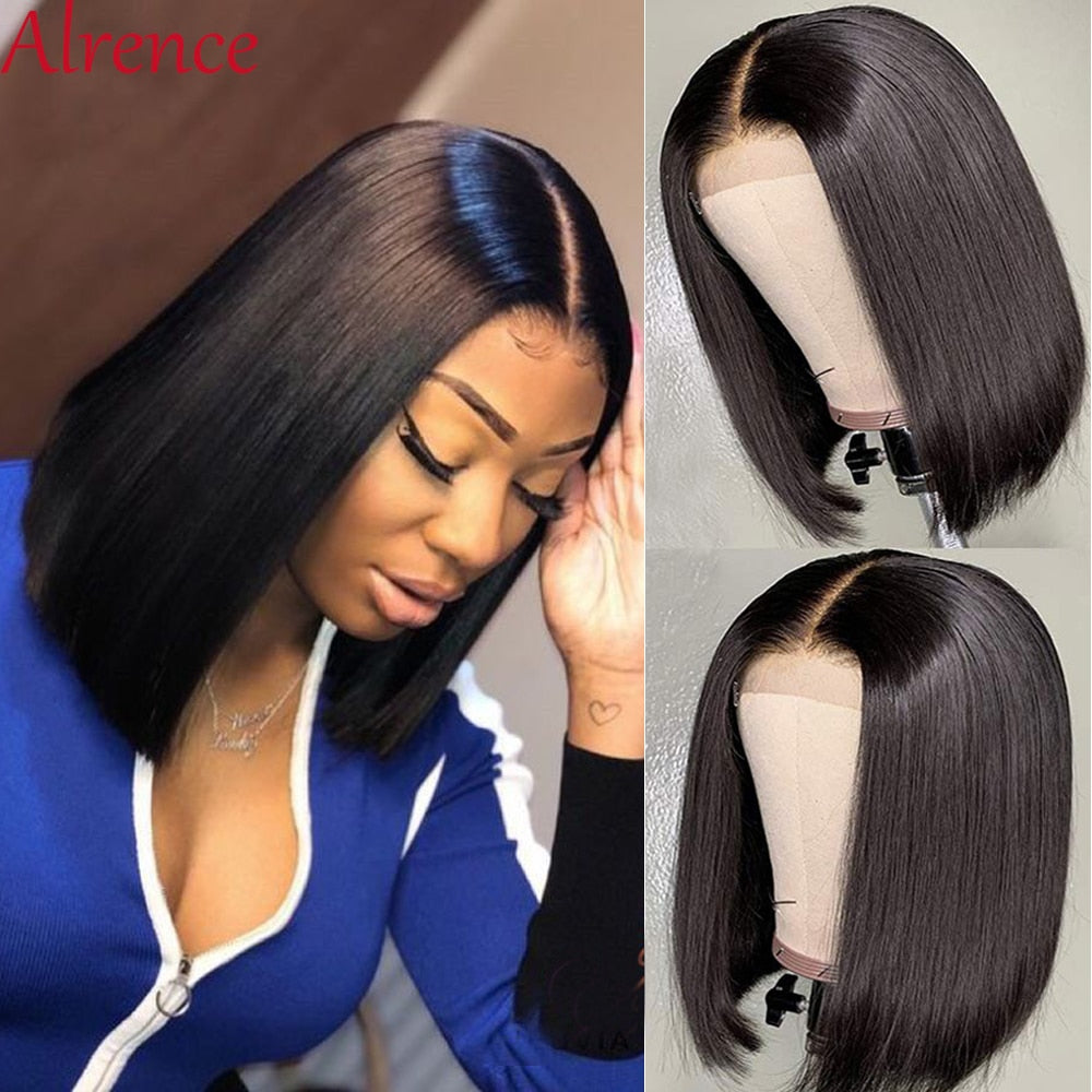 Brazilian Straight Lace Closure Bob Wig  Short Human Hair