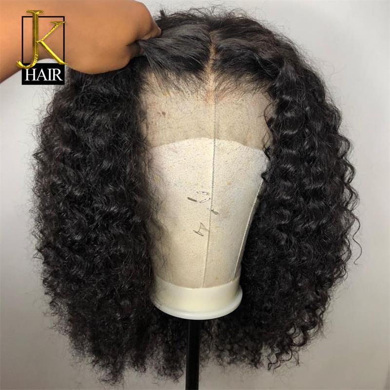 Curly Bob Lace Front  Remy Brazilian lace Wig Middle Part 130-150%