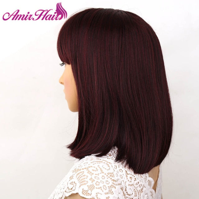 Synthetic Wigs With Bangs  Hair Bob Wig Heat Resistant