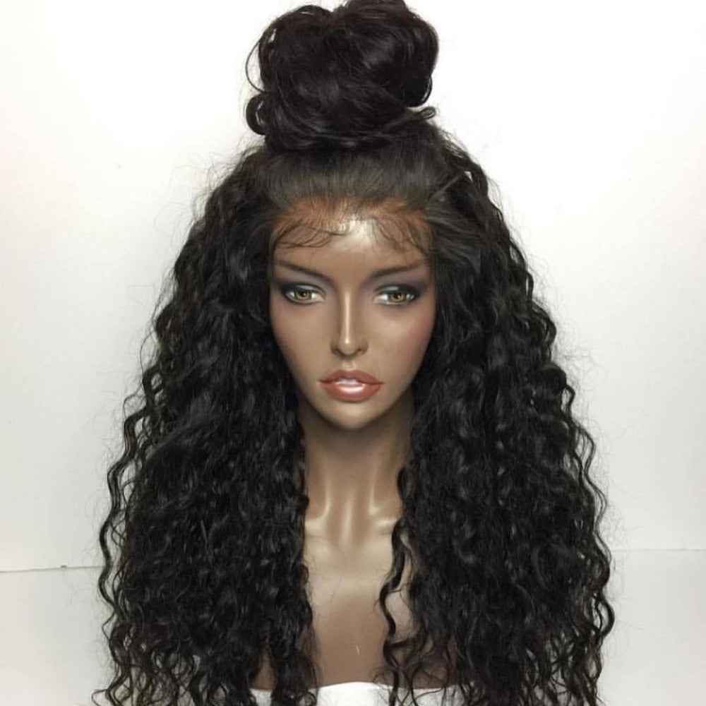 Fabwigs Curly Lace Front Human Hair Wigs Brazilian Human Hair Wigs with Baby Hair Remy Hair Wigs for Women Black Color
