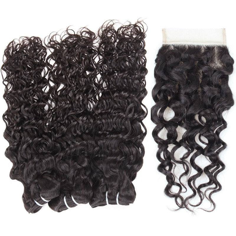 Hair bundles with closure Indian Unprocessed water wave Virgin Human Hair 3 Bundles With Lace Closure