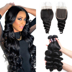 Peruvian  Unprocessed loose wave Virgin Human Hair 3 Bundles With Lace Closure hair weaving human virgin hair bundles