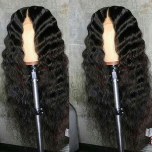 Long Deep Wave Lace Front Human Hair Middle Part 130%-180% Density  Glueless !!!!!!