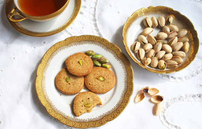 Cardamom Rose Water Shortbread Cookies with Chickpea and Almond Flour