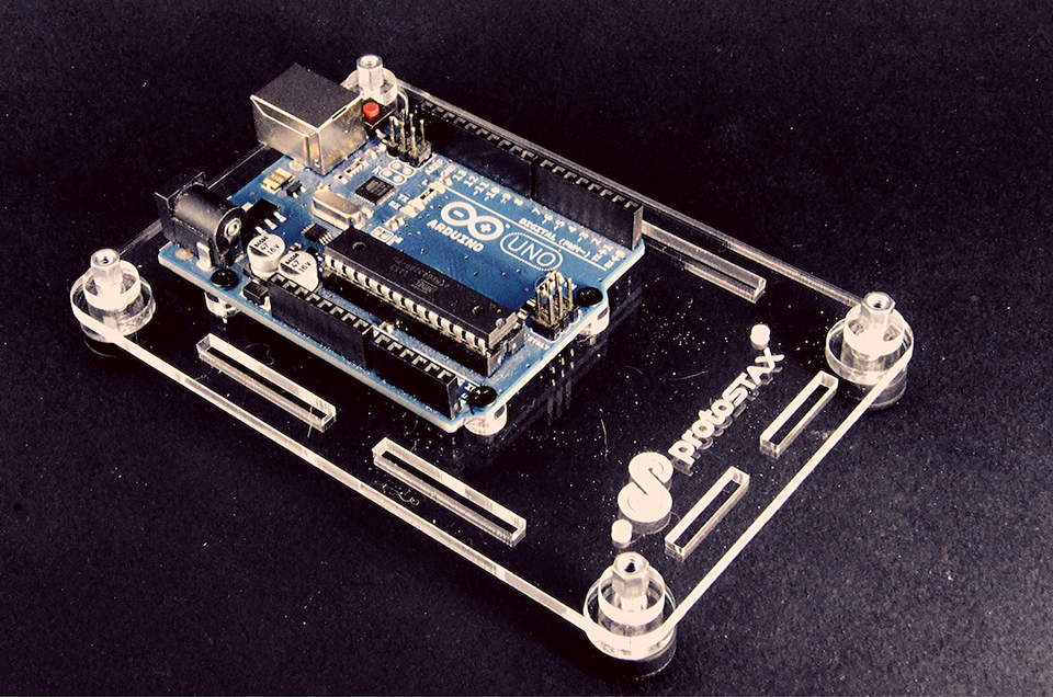 ProtoStax Enclosure / Case in Platform Configuration showing Arduino