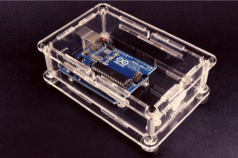 ProtoStax Enclosure / Case in Fully Closed Configuration showing Arduino