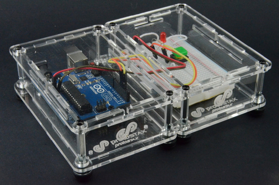 ProtoStax Enclosures stacked Horizontally in Fully Closed Configuration with Arduino and Breadboard