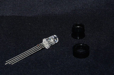 RGB 5mm LED - Clear - Common Anode - with plastic holder