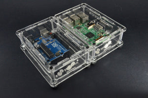 ProtoStax Enclosures - Arduino and Raspberry Pi stacked side-by-side in Open Configuration with horizontal stacking kit connectors and horizontal stacking kit connecting walls