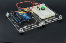 Load image into Gallery viewer, ProtoStax Enclosures - Arduino and Breadboard stacked side-by-side in Prototyping Platform Configuration with horizontal stacking kit connectors