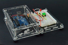 Load image into Gallery viewer, ProtoStax Enclosures - Arduino and Raspberry Pi stacked side-by-side with horizontal stacking kit connectors. Arduino enclosure in Closed Configuration and Bread in Platform configuration