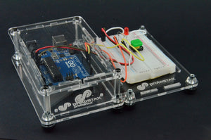 ProtoStax Enclosures - Arduino and Raspberry Pi stacked side-by-side with horizontal stacking kit connectors. Arduino enclosure in Closed Configuration and Bread in Platform configuration