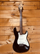 Burswood Black Strat Style Electric Guitar with New Union Station Gig Bag
