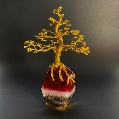 Wire and Resin Tree Sculpture - Red and Gold
