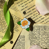 Gold White Rose pin on leaflet background