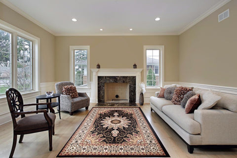 Luxe Weavers' Oriental Area Rugs in the living room