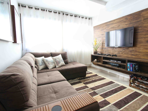 Area rug complementing a living room furniture