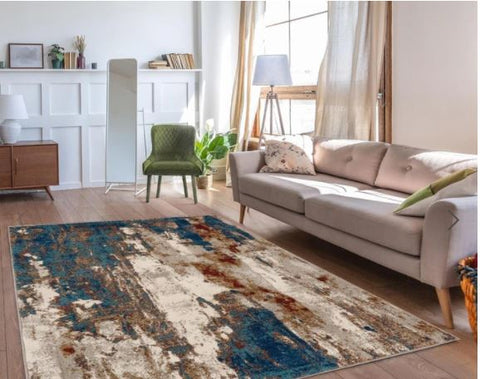 Luxe weavers 5X7 contemporary area rug in a standard living room