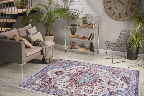 Luxe weavers' Oriental Area Rug in an eco-friendly living room
