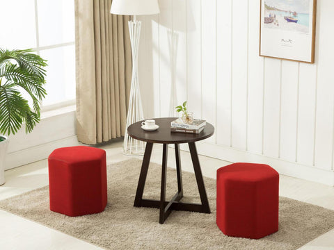 stools and a table on a contemporary area rug