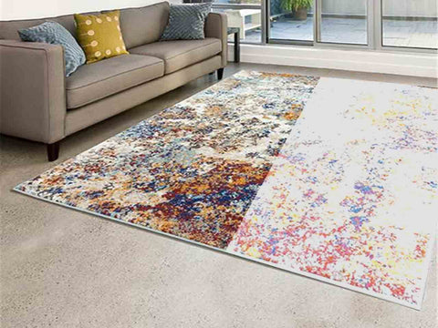 faded rug in a room