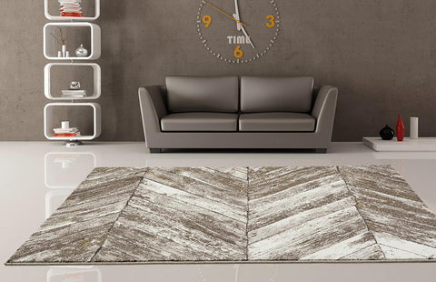 A living room sample of how to choose an abstract rug size