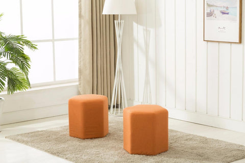 Luxe weavers orange cubic ottomans