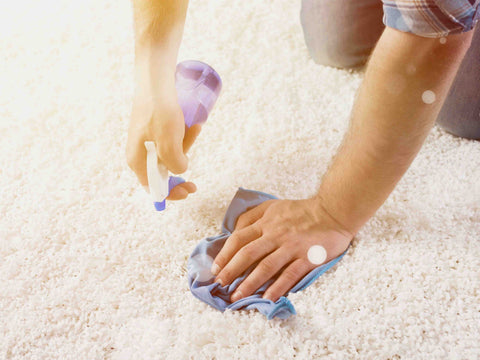 Man spraying salt water solution to prevent rug fading