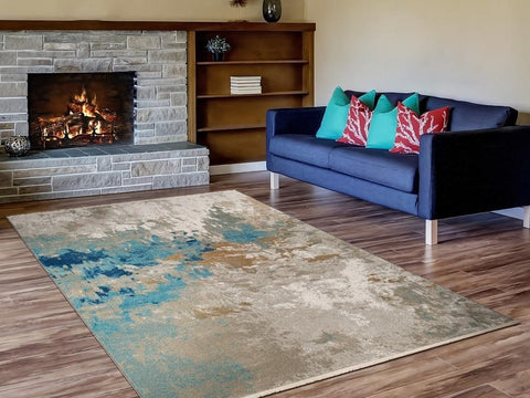 A modern area rug in a living room