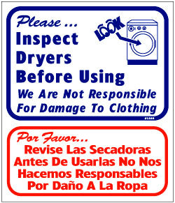 INSPECT DRYERS BEFORE USING, WE ARE NOT RESPONSIBLE FOR DAMAGE 13.5 X 16 BILINGUAL