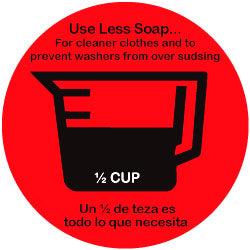 HI-EFFICIENCY WASHER SOAP DECAL 1/2 CUP 20 PK