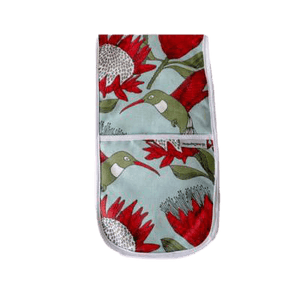Love Supreme Protea Blue Joined Oven Gloves