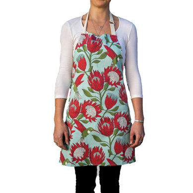 Love Supreme Protea Blue Cotton Apron