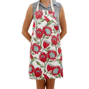 Love Supreme Protea White Cotton Apron