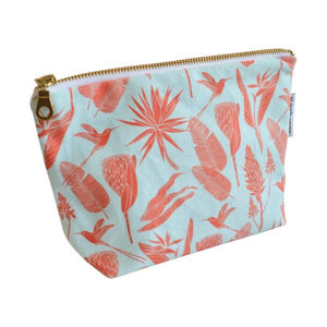 Love Supreme Botanicals Orange on Aqua Makeup Pouch